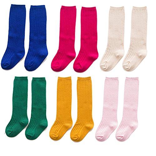 nit Kniehöhe Socken Mädchen Kinder Beiläufig Tube Socken 6-Pairs (M: Anzug für 7-10 Jahre alt, SET-DREI) (8 Monat Altes Baby-mädchen Halloween-kostüm)