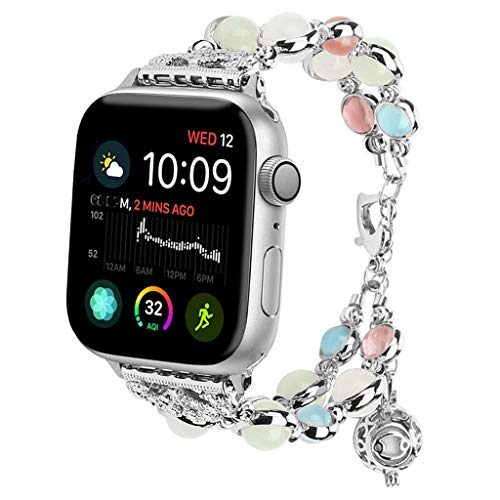 Neueste!!! Uhrenarmbänder - für Apple Watch 42 mm / 44 mm Serie 4 3 2 1 - Armbandgröße 5,5 Zoll - 7,5 Zoll, Robustes Edelstahl-Uhrenarmband - Handgefertigtes, Nachts Leuchtendes, Verstellbares Armband (Der In Glühen Dunklen Armbänder)