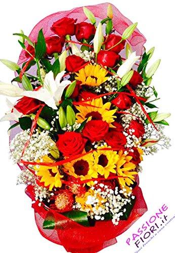 Passionefiori.it consegna mazzo fiori freschi 12 rose rosse e girasoli