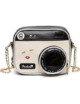 OURBAG Damen Kleine Umhängetasche Kamera Kette Leder Schultertasche Modische Handtasche mit Gute Qualität