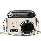 OURBAG Damen Kleine Umhängetasche Kamera Kette Leder Schultertasche Modische Handtasche mit Gute Qualität Farbig Mitte