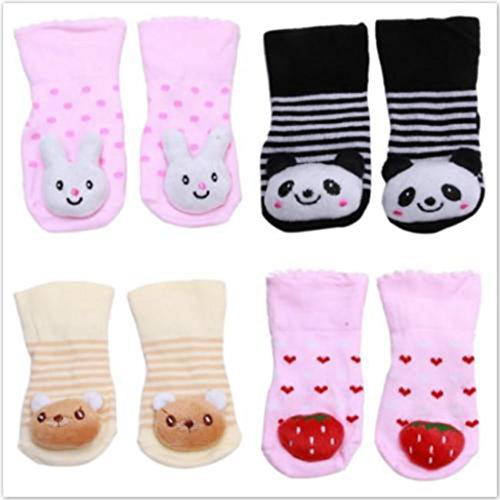 HENGSONG Bébé Cartoon Chaussettes Chaussures Slip en Coton Chaussette (Panda) Fraise