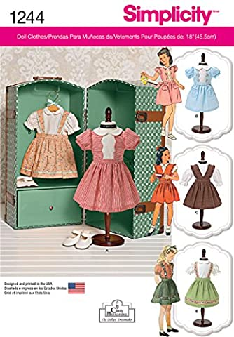 Simplicity 1244 Size OS Vintage 18-Inch Doll Clothes Sewing Pattern, Multi-Colour