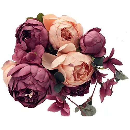 Celine Lin Vintage Pfingstrosen, künstlich, Seide, Blumensträuße Blumen Home Party Hochzeit Dekoration DIY New Pale Mauve