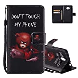 Huawei Mate 10 Case Folio, Aeeque PU Leather Flip Stand Function Magnetic Clasp with Hand Strap Slim-fit Wallet Holster and Funny Bear Pattern for Huawei Mate 10 - Don't Touch My Phone