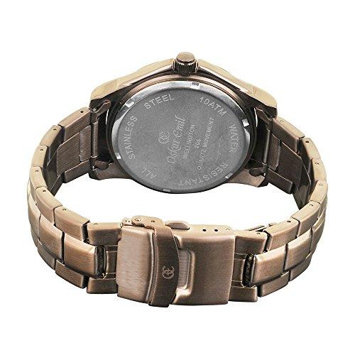 Oskar Emil, klassische Uhren, Classic men'Oskar Emil Damenuhr Wellington Brown men's Armbanduhr Analog Quarz Edelstahl Armband Braun-Gummistiefel, braun - 2