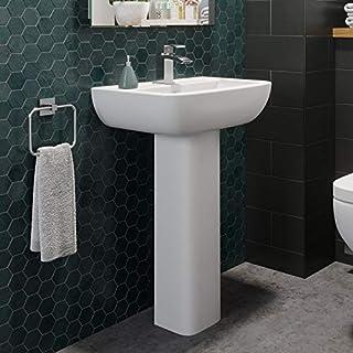 Affine Ceramic Modern Square Basin Wash Sink Full Pedestal Single Tap Hole Bathroom