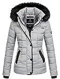 Marikoo warme Damen Winter Jacke Steppjacke Winterjacke gesteppt Parka B391 [B391-Unique-Grau-Gr.S]