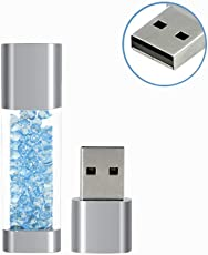 32GB USB 2.0 Flash Drive Jewelry Crystal Gift for Girls Waterproof Pen Drive Memory Stick Thumb Drives Pendrive Flash Disk (Light Blue)
