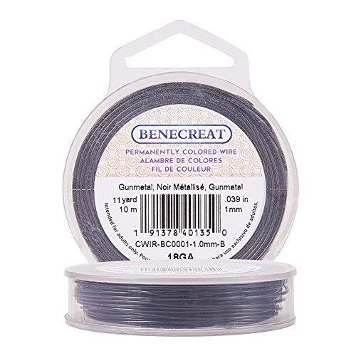 BENECREAT Kupferdraht, permanent eingefärbt, 18Gauge (1mm), 10m, Farbe: Gunmetal/Blaugrau