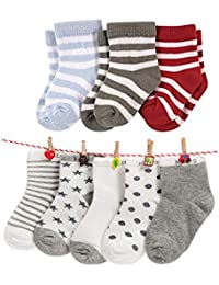 FOOTPRINTS Organic cotton Baby Socks-12-30 Months - Pack of 8 Pairs -P3 Stripes and P5 Grey