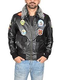 Hombre Cuero Fuerza Aerea Piloto Top Gun Estilo Chaqueta de Vuelo del Bomber Hank Negro