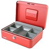 HMF - Cassetta di sicurezza portatile con vassoio portamonete, 25 x 17 x 9,5 cm, colore: Rosso