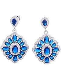 Gallant Sapphire Azul Topacio Plata de ley 925Overlay Pendientes largos para mujer Fashion Jewelry E425