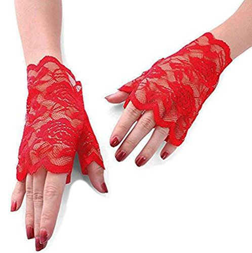chuhe, Frauen Blumenmuster Spitze fingerlose Handschuhe, halb Finger Brauthandschuhe UV Schutz fingerlose Handschuhe Sunproof Handschuhe (Rot) ()