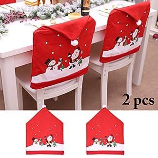 Cubierta de la Silla de Navidad, Outgeek 4PCS Creativo Lindo Muñeco de nieve Claus Cubierta de la silla Fiesta en casa Cena Cocina Mesa de Comedor Asiento Trasero Decoración Del Partido Regalo