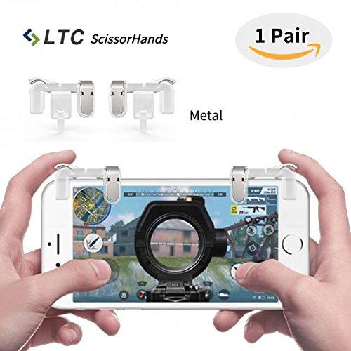 """LTC """"Scissorhands"""" Trigger M2 für Mobile Game, Metall Buttons, Emfindlich Schießen und Zielen Sowie L1R1 von Mobile Game Joysticks für PUBG, Geeignet für Android Oder IOS Smartphone (Transparent)"""
