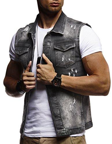 LEIF NELSON Herren Jeansweste Jeans Weste Basic Stretch Destroyed Vintage  Denim Stehkragen Jeansjacke Hoodie f6a7aba0d9