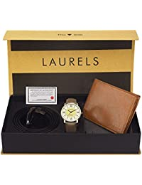 Laurels Combo of Leather Watch, Wallet and Belt for Men (Multicolour)
