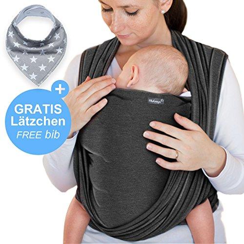 Portabebés gris oscuro - portabebés de alta calidad para recién nacidos y bebés hasta 15 kg - hecho de algodón suave - incluye bolsa para guardar y babero GRATIS - precioso diseño de Makimaja®