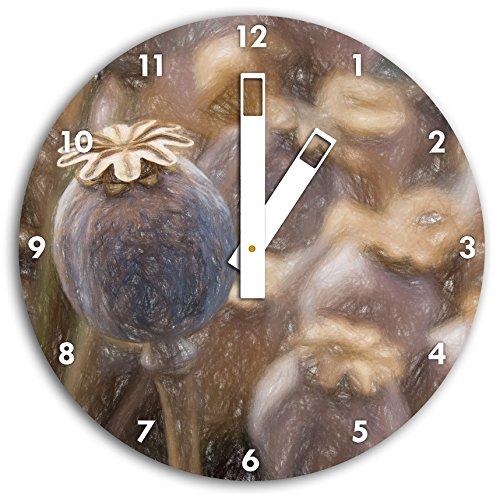 Stil.Zeit Mohnkapsel der Mohnblume Kunst Buntstift Effekt, Wanduhr Durchmesser 30cm mit weißen eckigen Zeigern und Ziffernblatt -