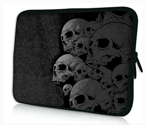 "Laptoptasche Notebooktasche 15"" - 15.6"" zoll Fall Neopren für Notebooks Dell HP Macbook Samsung Apple Toshiba*SKULL COLLECTION*"