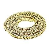 Sharplace Herren Tennis-Halsketten, Weißgold vergoldet, 1Reihe, Strass, 50,8/76,2cm, 2 Stück