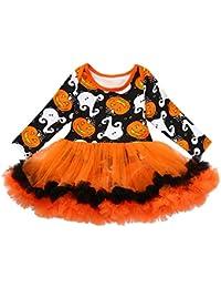 K-youth Vestido Bebe Niña Invierno Lindo Halloween Tutu Vestido de Princesa Manga Larga para Niñas Calabazas Impresión Ropa Bebe Niña Recién Nacido Party Dress Vestido de Fiesta