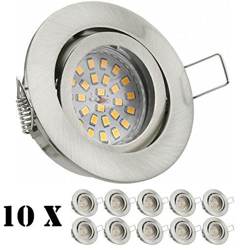 10er LED Einbaustrahler Set mit LED GU10 Markenstrahler von LEDANDO - 4,5W - schwenkbar - warmweiss - 120° Abstrahlwinkel - A+ - 30W Ersatz - silber - gebürstet