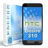 EAZY CASE 2X Panzerglas Displayschutz 9H Härte für HTC Desire 310, nur 0,3 mm dick I Schutzglas aus gehärteter 2,5D Panzerglasfolie, Displayschutzglas, Transparent/Kristallklar