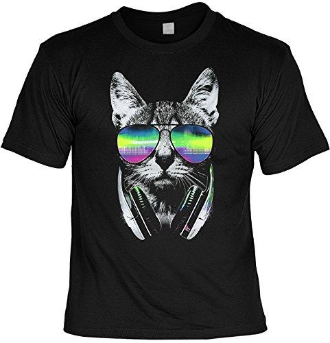 Mag-Shirt Cooles T-Shirt Motiv Aus Amerika Katzen Katze T-Shirt DJ Cat Neon Laiberl für Katzenfreunde Katzen Aufdruck Katzenbesitzer
