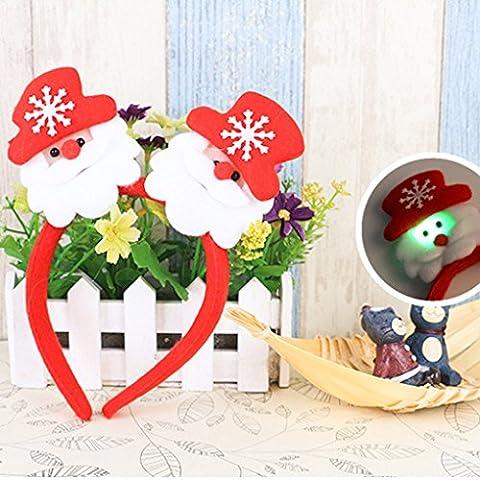 QHGstore Weihnachtsschmuck Haarhaken Doppel mit Lampe Stirnband Haar Band Kopfbedeckung Weihnachtsmann