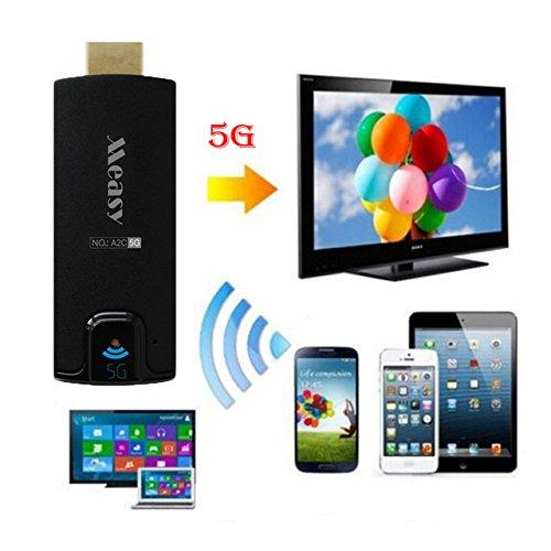A2C 5GHz Wireless HDMI Streaming Media Player Wifi pantalla Dongle compartir vídeos imágenes docs, Live cámara Musics desde todos los dispositivos inteligentes para TV, monitor o proyector