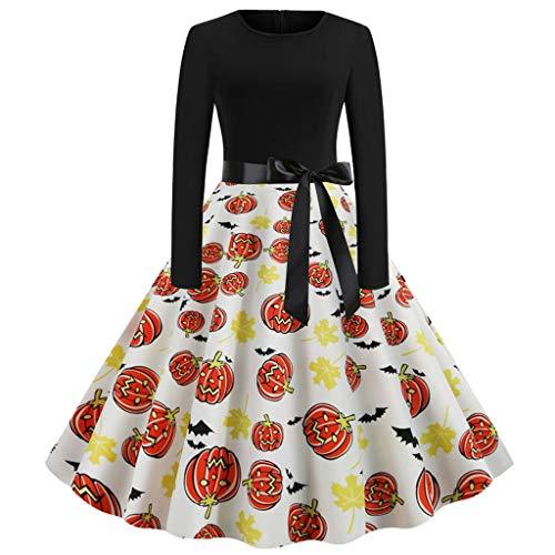 Hausgemachte Zombie Kinder Kostüm - Sillor Damen Kleid Halloween Retro Classic 1950er Jahre Hepburn Cocktailkleid mit Schleife Gürtel in der Taille, hausgemachte Ballkleid Langarm Gedruckt A-Line Plissee Midi Kleid