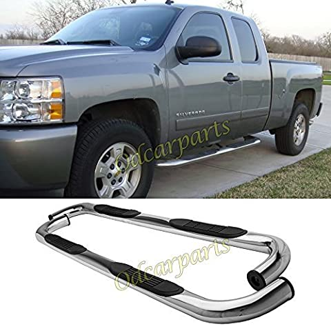 VioGi Fit:99-13 Silverado/Sierra 1500/2500/3500 Extended Cab (w/ 2 Full Size Front Doors 2 Half Size Rear Doors Only) 3 Round Tube S/S Side Step Rails Nerf Bar Running Boards by