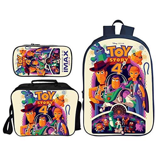 CVDEKH Borsa da Scuola per Bambini Toy Story 4 Set di Librerie Scolastiche Zaini per Studenti Set di 3 Pezzi: Zaini Scolastici con Pranzo al Sacco Termico E Astuccio Scuola Zaino Borsa Unisex,e