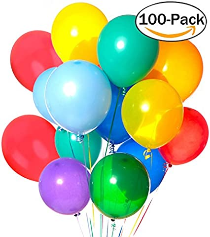 Latex Balloons,Outgeek 100 Piece 12 Inches Party Balloons Assorted Colour Balloon Decoration for Wedding Anniversary
