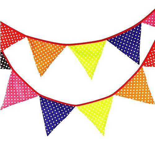 ed Wimpel mit 12 STK Wimpeln, Süße Girlande Wimpelkette Farbenfroh Bunting Wimpeln für Draußen (Gelb) ()