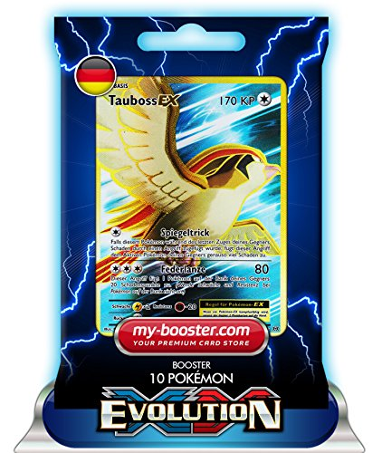 my-booster TAUBOSS EX Full Art 104/108 170KP XY12 Evolution - Booster mit 10 Deutsch Karten Pokemon (Ex Karten Full Pack Art Pokemon)