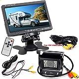 12V-24V 17,8cm Auto TFT LCD-Bildschirm HD Monitor + Bus LKW-Anhänger 18LEDs IR-Nachtsicht wasserdicht Rückfahrkamera Backup Kamera mit 10m Video-Kabel