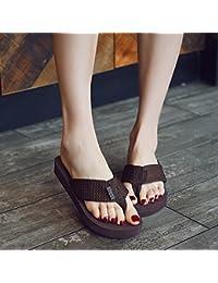 XIAMUO Sommer high-heeled Flip Flops mit dicken Plattform Keile wasserdicht Hausschuhe Sandalen 34 Schwarz 11...
