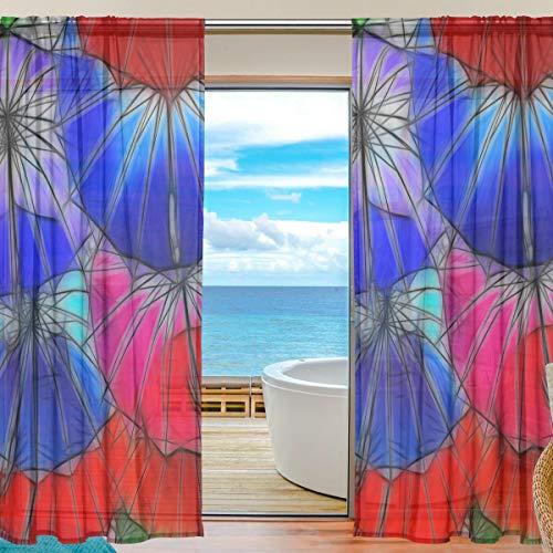 Fenster Vorhang Farbe Umbrella Art 55 x 84 Zoll 2 Panels Vorhänge Schiere Vorhang Print Semi Sheer für Home Schlafzimmer Wohnzimmer Dekor Retro Tüll Mount