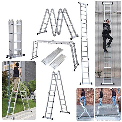 4.7M Leiter Mehrzweckleiter, Civigroupey Klappleiter mit Plattform 4x4 Sprossen Aluleiter Anlegeleiter Stehleiter aus Hochwertigem Alu 150 kg Belastbarkeit (4.7M)