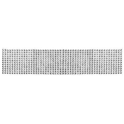 Rayher 55658606 nastro strass decorativo larghezza 6cm, 12 file di strass rotolo da 3 metri colore argento brillante per decorazioni e creazioni gioielli matrimoni feste