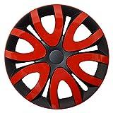 CM DESIGN MIKA Rot Schwarz - 15 Zoll, passend für Fast alle Ford z.B. für Fiesta MK7 JA8 mit Fußstütze