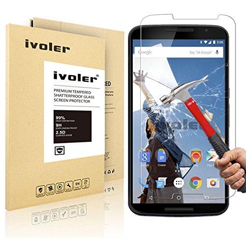 Nexus 6 Pellicola Protettiva, iVoler® Pellicola Protettiva in vetro temperato per Motorola Google Nexus 6- Vetro con Durezza 9H, Spessore di 0,2 mm,Bordi Arrotondati da 2,5D-Shockproof, Trasparenza ad alta definizione,  Facile da installare- Garanzia a vita