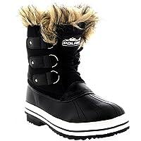 Womens Cuff Lace Up Rubber Sole Short Waterproof Winter Snow Rain Shoe Boots