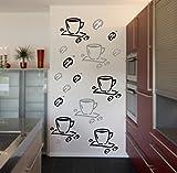 6 Stück Kaffeetassen und 9 Kaffeebohnen Aufkleber Fliesenaufkleber Wandtattoo Aufkleber Fensteraufkleber Möbeltattoo Borte