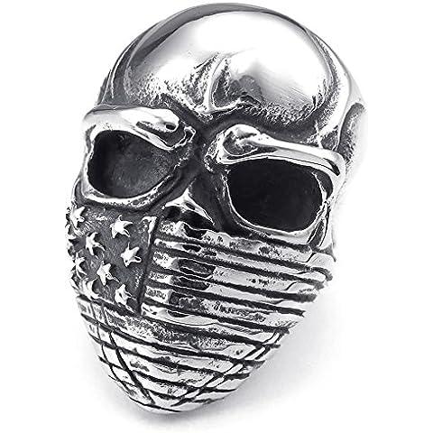 KONOV Joyería Anillo de hombre, Biker Clásicos Gótico Bandera Americana Calavera Cráneo, Acero inoxidable, Color negro plata (con bolsa de regalo)
