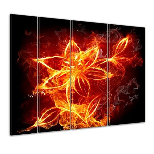 Keilrahmenbild - Feuerlilie - Bild auf Leinwand - 180 x 120 cm 4tlg - Leinwandbilder - Bilder als Leinwanddruck - Kunst & Life Style - Lilie im Flammendesign